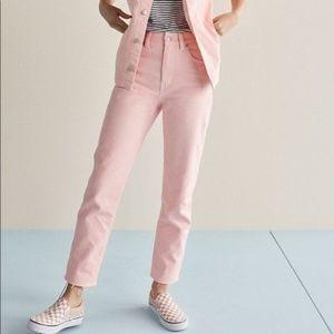 NWT Madewell High-Rise Light Pink Raw Hem Jeans